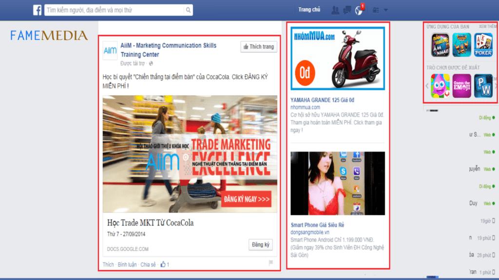 Các hình thức quảng cáo facebook ads