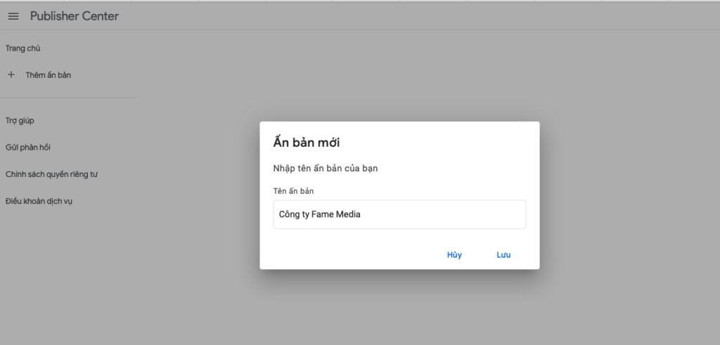 Cách tạo Google Publish Center
